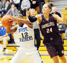 """<div class=""""source"""">CU Sports Information</div><div class=""""image-desc"""">Hayley Hellyer (24) battles Chanel Roberts (12) of Lindsey Wilson in the Campbellsville University Lady Tigers' 75-45 road victory on Thursday.  The Campbellsville teams and will host Georgetown College on Thursday (6/8) and University of the Cumberlands on Saturday (2/4).</div><div class=""""buy-pic""""></div>"""