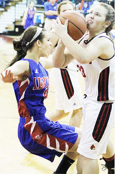 """<div class=""""source"""">Dennis George</div><div class=""""image-desc"""">Taylor County's Madison Burress, right, battles  Emily Peck from Adair County in Tuesday night's opener.</div><div class=""""buy-pic""""><a href=""""/photo_select/49886"""">Buy this photo</a></div>"""
