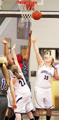 """<div class=""""source"""">Dennis George</div><div class=""""image-desc"""">Brenna Wethington (35) and Brooke Harris (23) of Campbellsville try to get a rebound before Washington County's Jennifer Keene (22).</div><div class=""""buy-pic""""><a href=""""/photo_select/49997"""">Buy this photo</a></div>"""