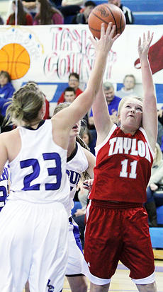 "<div class=""source"">Dennis George</div><div class=""image-desc"">MaKayla Sabo (11) goes up for two of her team-high 12 points vs. Kentucky Miss Basketball candidate and Western Kentucky University signee Ivy Brown during Friday night's Taylor County setback at LaRue County.</div><div class=""buy-pic""><a href=""/photo_select/50120"">Buy this photo</a></div>"