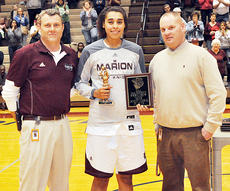 "<div class=""source"">Bobby Brockman</div><div class=""image-desc"">Alexus Calhoun accepts Most Outstanding Player award from Marion County principal Mike Abell and AD/Tournament director Robby Peterson.</div><div class=""buy-pic""><a href=""/photo_select/50349"">Buy this photo</a></div>"