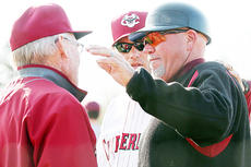 """<div class=""""source"""">Campbellsville University</div><div class=""""image-desc"""">Campbellsville University head baseball coach Beauford Sanders posted his 1,000th victory as a collegiate baseball coach when the Tigers downed Cumberland (Tenn.) University 10-1 in the first game of Saturday's Mid-South Conference doubleheader. Sanders, at right, visits with Bulldogs' head coach Woody Hunt, who has also reached the 1,000-win milestone.</div><div class=""""buy-pic""""></div>"""