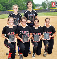 """<div class=""""source"""">Bobby Brockman</div><div class=""""image-desc"""">The All-20th District Season team consisted of, front, from left: Taylor County's Hannah Howard, Shelby Carney, Haley Wright and Becca Orberson. Back: Natalie Bertram and Emily Peck from Adair County. Paige Dabney and Brenna Wethington, Campbellsville; and Marion County's Jordan Thomas, Kylie Benningfield and Taylor Wade were previously honored.</div><div class=""""buy-pic""""><a href=""""/photo_select/52176"""">Buy this photo</a></div>"""