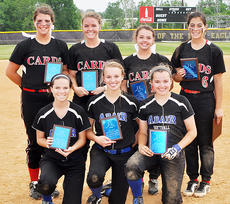 """<div class=""""source"""">Bobby Brockman</div><div class=""""image-desc"""">The All-20th District Tournament team consisted of, front, from left: Adair County's Hannah Absher, Natalie Bertram and Jordan Janes. Back: Shelby Carney, Karissa Mings, Cheyenne Moran and Haley Wright from Taylor County. Campbellsville's Paige Dabney and McKenzie Reynolds of Marion County were previously honored.</div><div class=""""buy-pic""""><a href=""""/photo_select/52175"""">Buy this photo</a></div>"""