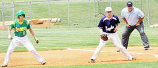 """<div class=""""source"""">Bobby Brockman</div><div class=""""image-desc"""">Campbellsville High school first-sacker Chase Thomas, right, tries to hold on Green County runner Toby Estes (1) in the sixth inning of Monday's Fifth Region Tournament first-round game at Central Hardin. The Eagles won 4-0, but were eliminated 13-0 by Bethlehem in the semi-finals on Wednesday. Bethlehem played Elizabethtown for the title on Saturday.</div><div class=""""buy-pic""""><a href=""""/photo_select/52470"""">Buy this photo</a></div>"""