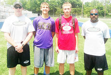 "<div class=""source""></div><div class=""image-desc"">Taylor County junior Hunter Christie and Campbellsville Senior Zach Durham attended the Complete QB camp at Lexington Catholic on June 6-7. Christie received the Hustle Award for the junior and senior division. Pictured from left are: Green County head football coach Chris Engstrand, Durham, Christie and Lexington Catholic varsity football defensive coordinator Nigel Smith.</div><div class=""buy-pic""></div>"