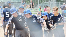 """<div class=""""source"""">Bobby Brockman</div><div class=""""image-desc"""">Hayden Jones escapes the mob at home plate after one of several home runs he hit during Campbellsville's 10-12-year-old 4-0 start in pool play in Little League District 5 action in Glasgow.</div><div class=""""buy-pic""""><a href=""""/photo_select/65552"""">Buy this photo</a></div>"""