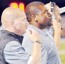 """<div class=""""source"""">Bobby Brockman</div><div class=""""image-desc"""">Campbellsville University head coach Perry Thomas, right, turned the defensive coordinator duties over to Josh Dye, left, during the Tigers' off week. The Fighting Tigers improved to 1-2 on Saturday night as they shut out the Bethel University Wildcats 26-0 in McKenzie, Tenn. CU hosts Belhaven this Saturday at 1:30.</div><div class=""""buy-pic""""><a href=""""http://web2.lcni5.com/cgi-bin/c2newbuyphoto.cgi?pub=085&orig=09-26_thomasdye.jpg"""" target=""""_new"""">Buy this photo</a></div>"""