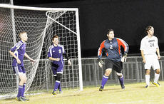 """<div class=""""source"""">Bobby Brockman</div><div class=""""image-desc"""">Campbellsville High School's Eagles used a three-goalkeeper set-up of Caleb Gupton (2), Dalton Hughes (5) and Dominique Allen (9) to stay close with the top-seed and host Knights before falling 3-0 in the other semi-final clash. </div><div class=""""buy-pic""""><a href=""""/photo_select/47728"""">Buy this photo</a></div>"""