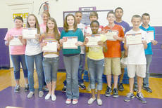 "<div class=""source""></div><div class=""image-desc"">Seventh grade president's physical fitness winners are, front, from left, Caroline McMahan, Caylie Blair, Blair Lamb, Latavia Shivley, Murphy Lamb and Connor Wilson. Back, Katelyn Beard, Brenna Wethington, Kyron Statham, Zack Bottoms, Arick Groves and Blake Underwood.</div><div class=""buy-pic""></div>"
