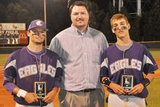 "<div class=""source"">Bobby Brockman</div><div class=""image-desc"">Elizabethtown High School principal Steve Smallwood, center, presents Eagle baseball players Brett Kearney, left, and Zach Durham their All-Fifth Region Tournament plaques after Campbellsville High School's 4-1 semi-final loss to Central Hardin on Wednesday night.</div><div class=""buy-pic""><a href=""http://web2.lcni5.com/cgi-bin/c2newbuyphoto.cgi?pub=085&orig=AllRegionbaseball.jpg"" target=""_new"">Buy this photo</a></div>"