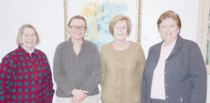 """<div class=""""source"""">Naranchuluu Amarsanaa</div><div class=""""image-desc"""">From left are Campbellsville University professors Linda J. Cundiff, chair of the department of art, formerly of Columbia, Davie Reneau of Glasgow, assistant professor of art, and Henrietta Scott and Cora Renfro of Columbia. The teachers recently had an art exhibit at CU.</div><div class=""""buy-pic""""></div>"""