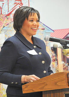 """<div class=""""source"""">Munkh-Amgalan Galsanjamts</div><div class=""""image-desc"""">Beverly Kirk, founder and CEO of Bevkirk International, LLC, speaks on advocacy journalism at Campbellsville University's annual media appreciation luncheon.</div><div class=""""buy-pic""""></div>"""