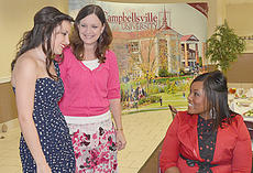 "<div class=""source"">Joan C. McKinney</div><div class=""image-desc"">Cassidy Blair, left, a Campbellsville High School student, and her mother, Terri Slinker talk with Shajuana Ditto before she spoke at the dinner.</div><div class=""buy-pic""></div>"