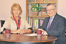"""<div class=""""source"""">Linda Waggener</div><div class=""""image-desc"""">Hilda Legg, left, vice chair of Broadband Properties magazine, a 1974 graduate of Campbellsville University who has served in the Rural Utilities Service and in the Appalachian Regional Commission in Washington, D.C., was recently interviewed by Campbellsville University's John Chowning, vice president for church and external relations and executive assistant to the president of CU, on WLCU-TV for the """"Dialogue on Public Issues"""" show. </div><div class=""""buy-pic""""></div>"""