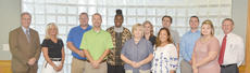 """<div class=""""source"""">Joan C. McKinney</div><div class=""""image-desc"""">New faculty members at Campbellsville University pose with Dr. Michael V. Carter, president, back row far left and Dr. Frank Cheatham, senior vice president for academic affairs, far right in back row. Faculty members include, front, from left, Russ Thompson, assistant director of bands and instructor in music; Anne Adcock, assistant professor of social work and Somerset site director; Phoebe Williamson, assistant professor of education; and Jacqueline Young, clinical nursing instructor. Back, Carter, Kay Gupton, instructor in human performance; Tim Rogers, instructor in human performance; Dr. Karen Westbrooks, assistant master of science in counseling program director and associate professor of counseling; Deborah Spalding, assistant professor of education; Dejan Mraovic, assistant professor of graphic design; Allen Copenhaver, instructor in criminal justice, and Cheatham.</div><div class=""""buy-pic""""></div>"""