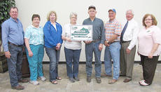 "<div class=""source""></div><div class=""image-desc"">Don Caffee was recently named a master conservationist. From left are Danny Hawes, acting district conservationist; Debbie Gabbert and Sophia Adams, conservation district board members; Elaine and Don Caffee; Barry Smith, conservation district board member; Taylor County Judge/Executive Eddie Rogers and Linda Russell, conservation district administrative secretary.</div><div class=""buy-pic""></div>"
