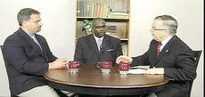 """<div class=""""source""""></div><div class=""""image-desc"""">David Cozart, center, a Campbellsville University graduate who is administrator of development for the Urban League at Lexington/Fayette County, and Eric Geary, chief executive officer with Lexington Leadership Foundation, left, were recently interviewed for the CU show """"Dialogue on Public Issues"""" on WLCU. CU's John Chowning, vice president for church and external relations and executive assistant to the president of CU, at right, did the interview.</div><div class=""""buy-pic""""></div>"""