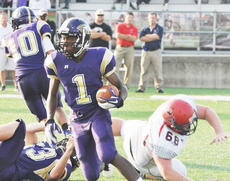 "<div class=""source"">Bobby Brockman</div><div class=""image-desc"">Kendon Young had four catches in his first varsity game as Campbellsville lost to Russell County 51-0 in the fourth annual Forcht Bank Bowl at Campbellsville University.</div><div class=""buy-pic""><a href=""/photo_select/39881"">Buy this photo</a></div>"