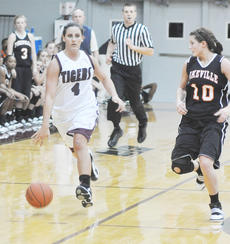 "<div class=""source"">Dennis George</div><div class=""image-desc"">Mackenzie Lee, a sophomore from Montgomery County, leads the Lady Tiger break at home vs. Pikeville.</div><div class=""buy-pic""><a href=""/photo_select/27186"">Buy this photo</a></div>"