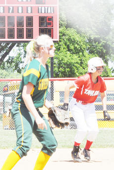 """<div class=""""source"""">Bobby Brockman</div><div class=""""image-desc"""">Taylor County's Becca Orberson gets off second base vs. Green County shortstop Rachel Marr on Monday. The Lady Cardinals had a two-run, fifth-inning rally and added two more in their last at-bat, but still dropped a 6-5 decision to the Lady Dragons at Nelson County in the Fifth Region Tournament.</div><div class=""""buy-pic""""><a href=""""/photo_select/44765"""">Buy this photo</a></div>"""