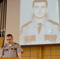 "<div class=""source"">Calen McKinney</div><div class=""image-desc"">Kentucky State Police Public Affairs Officer Billy Gregory talks about the late Johnny Edrington II at a ceremony in his honor last Wednesday. This December will mark 25 years since Edrington was shot and killed during a traffic stop. His killer has yet to be apprehended.</div><div class=""buy-pic""><a href=""/photo_select/44484"">Buy this photo</a></div>"
