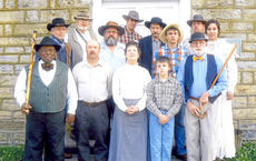 """<div class=""""source""""></div><div class=""""image-desc"""">Cast members include, from left, front, Jerry Cowherd, Alan Montgomery of Campbellsville, Sue Ferguson, Bradley Abell and Gary Ferguson. Middle, writer/director Lanny Tucker, Darrell Higgason, Jordan Abell and Angelina Alcott. Back, Danny Jeffries, John Henderson, Louie Lyle as Edwards and Adam Abell. </div><div class=""""buy-pic""""></div>"""