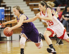 """<div class=""""source"""">Dennis George</div><div class=""""image-desc"""">Tiffany Slone heads down court for Campbellsville vs. Taylor County's Haley Wright during the Lady Eagles 52-41 setback to the Lady Cardinals.</div><div class=""""buy-pic""""><a href=""""/photo_select/34365"""">Buy this photo</a></div>"""