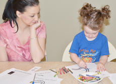 """<div class=""""source"""">Calen McKinney</div><div class=""""image-desc"""">Carmen Wicker, 3, of Campbellsville, colors a worm as her mother, Terri, watches.</div><div class=""""buy-pic""""><a href=""""/photo_select/45240"""">Buy this photo</a></div>"""