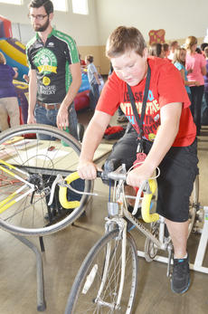 """<div class=""""source"""">Calen McKinney</div><div class=""""image-desc"""">Taylor County Middle School student Terry Cook peddles on a stationary bike.</div><div class=""""buy-pic""""><a href=""""/photo_select/40861"""">Buy this photo</a></div>"""