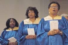"<div class=""source"">Calen McKinney</div><div class=""image-desc"">Pleasant Union Baptist Church Choir members, from left, Keisha Williams, Imogina Smith and Flossie Rowe sing during Sunday's annual Dr. Martin Luther King Jr. memorial worship service.</div><div class=""buy-pic""><a href=""/photo_select/35121"">Buy this photo</a></div>"