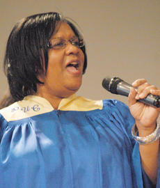 "<div class=""source"">Calen McKinney</div><div class=""image-desc"">Pleasant Union Baptist Church Choir member Lisa Pickett sings during Sunday's annual Dr. Martin Luther King Jr. memorial worship service.</div><div class=""buy-pic""><a href=""http://web2.lcni5.com/cgi-bin/c2newbuyphoto.cgi?pub=085&orig=MLK%2BWorship%2BService%2B8.jpg"" target=""_new"">Buy this photo</a></div>"