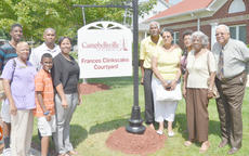 """<div class=""""source"""">Calen McKinney</div><div class=""""image-desc"""">Family members gather at Campbellsville University last Thursday to dedicate a courtyard to the late Frances Clinkscales, who was known for her civic and community service.</div><div class=""""buy-pic""""><a href=""""/photo_select/40108"""">Buy this photo</a></div>"""