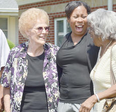 """<div class=""""source"""">Calen McKinney</div><div class=""""image-desc"""">LaQuita Goodin, center, Frances Clinkscales' granddaughter, shares a laugh with friends and members of the Taylor County Republican Women's group, of which the late Clinkscales was a member.</div><div class=""""buy-pic""""><a href=""""/photo_select/40109"""">Buy this photo</a></div>"""