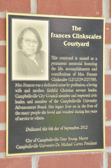 """<div class=""""source"""">Calen McKinney</div><div class=""""image-desc"""">This plaque is posted outside Campbellsville University's School of Nursing proclaiming the courtyard dedicated to Frances Clinkscales���.</div><div class=""""buy-pic""""><a href=""""/photo_select/40113"""">Buy this photo</a></div>"""