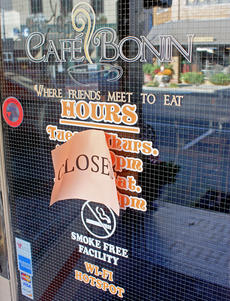 """<div class=""""source"""">Brent Schanding</div><div class=""""image-desc"""">Cafe' Bonin closed its doors in August. Owners Jeff and Dr. Marlene Richardson continue to look for a buyer.</div><div class=""""buy-pic""""><a href=""""/photo_select/40876"""">Buy this photo</a></div>"""