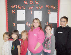 """<div class=""""source""""></div><div class=""""image-desc"""">Taylor County Elementary School recently announced its Writers of the Week for the week of Dec. 14. They are, from left, kindergartener Ava Haffner, first-grader Katie Stachowiak, second-grader Heaven Hourigan, third-grader Whitney Houchens and fourth- and fifth-graders Jenna Reynolds and Jay Milburn. </div><div class=""""buy-pic""""></div>"""