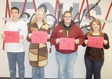 """<div class=""""source""""></div><div class=""""image-desc"""">Taylor County High School recently announced its Students of the Week for the week of Jan. 14-22. They are, from left, freshman Alex Tungate, sophomore Mary Gray, junior Michala Caulk and senior Kaitlyn Benningfield.</div><div class=""""buy-pic""""></div>"""