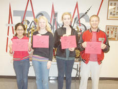 """<div class=""""source""""></div><div class=""""image-desc"""">Taylor County High School recently announced its Students of the Week for the week of Nov. 7-12. They are, from left, freshman Christine Vega, sophomore Mary Gray, junior Katie Cave and senior Will Hollingsworth. </div><div class=""""buy-pic""""></div>"""