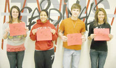 """<div class=""""source""""></div><div class=""""image-desc"""">Taylor County High School recently named its Students of the Week for March 1-4. From left, they are senior Ellie McKinley, junior Gabby Keene, sophomore Jackie Wicker and freshman Zoe Lockard. </div><div class=""""buy-pic""""></div>"""