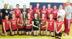 """<div class=""""source"""">SUBMITTED</div><div class=""""image-desc"""">The Taylor County seventh grade girls'  volleyball team is, from left, front: Brianna McVay, Abbi Smoot, Madison James, Madison Jones, Sydney Tucker, Elizabeth Rogers, Autumn Evans and Bailey Kidder. Back: coach Faith Womack, manager Jack Ford, Mariah Oliver, Amelia Bowen, Camille Hiller, Rachel Myers, Taegan Montgomery, Matti Blakeman, Lexi Raikes, manager Cheyenne Brock and coach Stephen Zink.</div><div class=""""buy-pic""""></div>"""