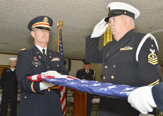 """<div class=""""source"""">Calen McKinney</div><div class=""""image-desc"""">Marion County Honor Guard members perform a flag folding ceremony at a ceremony to open a war artifact exhibit at the American Legion.</div><div class=""""buy-pic""""><a href=""""/photo_select/48308"""">Buy this photo</a></div>"""
