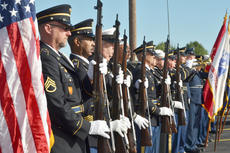 """<div class=""""source"""">Calen McKinney</div><div class=""""image-desc"""">Marion County Honor Guard members give a 21-gun salute at the ceremony to open a war artifact exhibit at the American Legion.</div><div class=""""buy-pic""""><a href=""""/photo_select/48307"""">Buy this photo</a></div>"""