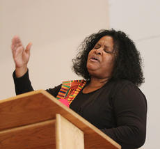 """<div class=""""source"""">Dennis George</div><div class=""""image-desc"""">Rosalind Strong-Porter sings during Sunday's Black HIstory Month celebration at First Baptist Church. It was the 28th annual celebration, hosted by the Taylor County Civic Club.</div><div class=""""buy-pic""""><a href=""""/photo_select/66623"""">Buy this photo</a></div>"""