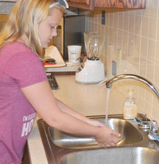 """<div class=""""source"""">Calen McKinney</div><div class=""""image-desc"""">Olivia Herron washes her hands before chopping vegetables for her stir-fry lunch.</div><div class=""""buy-pic""""><a href=""""http://web2.lcni5.com/cgi-bin/c2newbuyphoto.cgi?pub=085&orig=chef_day_camp_9.jpg"""" target=""""_new"""">Buy this photo</a></div>"""