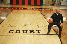 "<div class=""source"">Jeff Moreland</div><div class=""image-desc"">Taylor County legend Clem Haskins poses beside the logo naming Taylor County High School's basketball court as Clem Haskins Court. He received the honor at halftime of Saturday's Taylor County versus Scott County game.</div><div class=""buy-pic""><a href=""/photo_select/66530"">Buy this photo</a></div>"