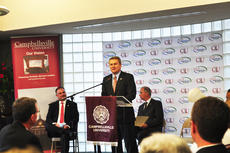 """<div class=""""source"""">Leslie Moore</div><div class=""""image-desc"""">Kentucky Commissioner of Agriculture James Comer recognizes Campbellsville University as the sixth university to join the Kentucky Proud Farm to Campus program.</div><div class=""""buy-pic""""><a href=""""http://web2.lcni5.com/cgi-bin/c2newbuyphoto.cgi?pub=085&orig=cu_ky_proud_3.jpg"""" target=""""_new"""">Buy this photo</a></div>"""