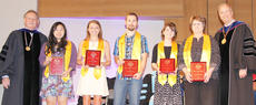 """<div class=""""source"""">Rachel DeCoursey</div><div class=""""image-desc"""">Val Sal Group  photo/RACHEL DeCOURSEY  Valedictorians and salutatorian were presented with sashes to be worn at graduation. From left are Dr. Frank Cheatham, senior vice president for academic affairs, valedictorians Miwa Matsuo, Emilee O'Brien, Trevor Greenwell, salutatorian Jacqueline Nelson, valedictorian Karen Bland and Dr. Michael Carter, president.</div><div class=""""buy-pic""""></div>"""