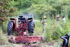 """<div class=""""source"""">Leslie Moore</div><div class=""""image-desc"""">Taylor County Fire & Rescue personnel responded to the report of a tractor and field fire at Cudler Creek Road in Bradfordsville at about 3 p.m. Thursday. Upon arrival, firefighters quickly extinguished the blaze. No injuries were reported and, as of press time, no report had been released.</div><div class=""""buy-pic""""><a href=""""http://web2.lcni5.com/cgi-bin/c2newbuyphoto.cgi?pub=085&orig=cudler_creek_tractor_fire_1_color.jpg"""" target=""""_new"""">Buy this photo</a></div>"""