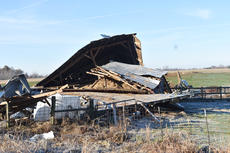 """<div class=""""source"""">Zac Oakes</div><div class=""""image-desc"""">Local farmer Rod Phillips sustained damage to his farm Saturday night due to an EF-1 tornado that touched down on Cave Road</div><div class=""""buy-pic""""><a href=""""/photo_select/66317"""">Buy this photo</a></div>"""